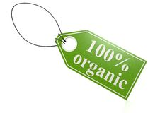 100 percent organic label. Hi-res original 3d-rendered computer generated artwork Vector Illustration