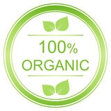 100 percent organic label. Vector organic image stock illustration