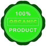 100 percent organic product label. Green 100 percent organic product label on a white background Royalty Free Stock Photo