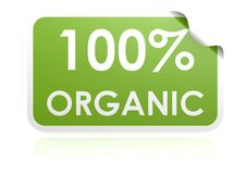 100 percent organic sticker Stock Photo