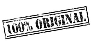 100 percent original black stamp. Isolated on white background stock illustration