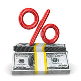 Percent on pack of dollars. Isolated 3D Royalty Free Stock Photo