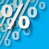 Percent paper symbols white in the corner on a blue background. Percent paper symbols white in the corner on a blue background stock illustration
