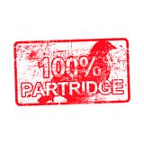 100 percent PARTRIDGE - red rubber dirty grungy stamp in rectang. Ular vector illustration isolated Stock Image