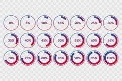 0 5 10 15 20 25 30 35 40 45 50 55 60 65 70 75 80 85 90 95 100 percent pie chart symbols on transparent background. Percentage. Vector, infographic circle icons stock illustration