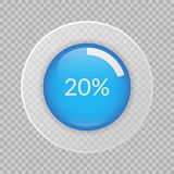 20 percent pie chart on transparent background. Percentage vector infographic circle icon for business, finance, design. 20 percent pie chart on transparent stock illustration