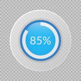 85 percent pie chart on transparent background. Percentage vector infographic icon for business, finance, design, report. 85 percent pie chart on transparent Stock Photo