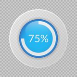 75 percent pie chart on transparent background. Percentage vector infographic icon for business. 75 percent pie chart on transparent background. Percentage Stock Photos