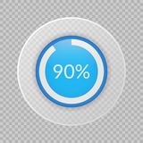 90 percent pie chart on transparent background. Percentage vector infographic icon. Circle diagram. 90 percent pie chart on transparent background. Percentage Royalty Free Stock Images
