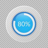 80 percent pie chart on transparent background. Percentage vector infographic icon. 80 percent pie chart on transparent background. Percentage vector Stock Photo