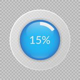 15 percent pie chart on transparent background. Percentage vector infographic icon. 15 percent pie chart on transparent background. Percentage vector Stock Photos