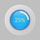 25 percent pie chart on transparent background. Percentage vector infographics. Circle diagram. Business illustration icon for marketing presentation, project Royalty Free Stock Photo