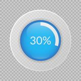 30 percent pie chart on transparent background. Percentage vector infographics. Circle diagram isolated. Business illustration icon for marketing project Stock Photography