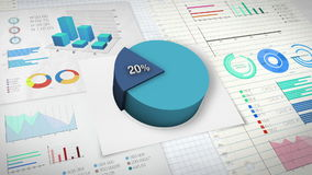 20 percent Pie chart with various economic finances graph. stock video