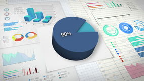 90 percent Pie chart with various economic finances graph. Pie chart with various economic finances graph vector illustration