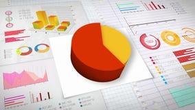 60 percent Pie chart with various economic finances graph.(no text). Percent Pie chart with various economic finances graph royalty free illustration