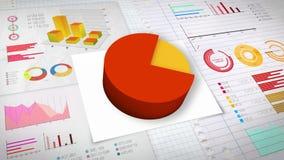 80 percent Pie chart with various economic finances graph.(no text). Percent Pie chart with various economic finances graph stock illustration