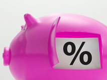 Percent In Piggy Shows Saving And Investment Stock Images