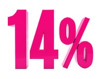 14 Percent Pink Sign. 3d Illustration 14 Percent Discount Sign, Sale Up to 14, 14 Sale, Pink Percentages Special Offer, Save On 14 Icon, 14 Off Tag, 14 Royalty Free Illustration