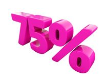 75 Percent Pink Sign. 3d Illustration 75 Percent Discount Sign, Sale Up to 75, 75 Sale, Pink Percentages Special Offer, Save On 75 Icon, 75 Off Tag, 75 Stock Image
