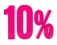 10 Percent Pink Sign. 3d Illustration 10 Percent Discount Sign, Sale Up to 10, 10 Sale, Pink Percentages Special Offer, Save On 10 Icon, 10 Off Tag, 10 Stock Illustration