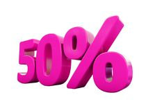 50 Percent Pink Sign. 3d Illustration Pink 50 Percent Discount Sign, Sale Up to 50, 50 Sale, Pink Percentages Special Offer, Save On 50 Icon, 50 Off Tag, Pink 50 Stock Photo