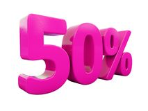 50 Percent Pink Sign. 3d Illustration Pink 50 Percent Discount Sign, Sale Up to 50, 50 Sale, Pink Percentages Special Offer, Save On 50 Icon, 50 Off Tag, Pink 50 Royalty Free Stock Photo