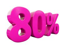 80 Percent Pink Sign. 3d Illustration Pink 80 Percent Discount Sign, Sale Up to 80, 80 Sale, Pink Percentages Special Offer, Save On 80 Icon, 80 Off Tag, Pink 80 Stock Image