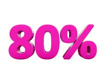 80 Percent Pink Sign. 3d Illustration Pink 80 Percent Discount Sign, Sale Up to 80, 80 Sale, Pink Percentages Special Offer, Save On 80 Icon, 80 Off Tag, Pink 80 Royalty Free Stock Photography