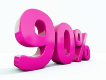 90 Percent Pink Sign. 3d Illustration Pink 90 Percent Discount Sign, Sale Up to 90, 90 Sale, Pink Percentages Special Offer, Save On 90 Icon, 90 Off Tag, Pink 90 stock illustration