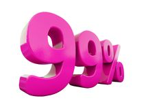 99 Percent Pink Sign. 3d Illustration Pink 99 Percent Discount Sign, Sale Up to 99, 99 Sale, Pink Percentages Special Offer, Save On 99 Icon, 99 Off Tag, Pink 99 stock illustration