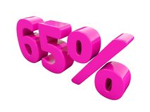 65 Percent Pink Sign. 3d Illustration 65 Percent Discount Sign, Sale Up to 65, 65 Sale, Pink Percentages Special Offer, Save On 65 Icon, 65 Off Tag, 65 Royalty Free Stock Photos