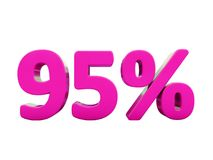 95 Percent Pink Sign. 3d Illustration 95 Percent Discount Sign, Sale Up to 95, 95 Sale, Pink Percentages Special Offer, Save On 95 Icon, 95 Off Tag, 95 vector illustration