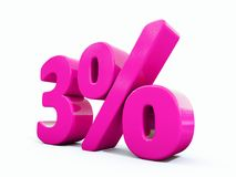 3 Percent Pink Sign. 3d Illustration 3 Percent Discount Sign, Sale Up to 3, 3 Sale, Pink Percentages Special Offer, Save On 3 Icon, 3 Off Tag, 3 Percentage Sign Royalty Free Stock Photo