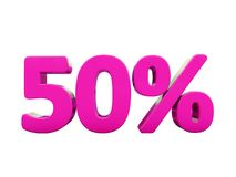 50 Percent Pink Sign. 3d Illustration Pink 50 Percent Discount Sign, Sale Up to 50, 50 Sale, Pink Percentages Special Offer, Save On 50 Icon, 50 Off Tag, Pink 50 Stock Image