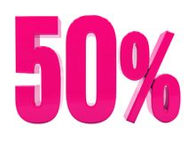 50 Percent Pink Sign. 3d Illustration Pink 50 Percent Discount Sign, Sale Up to 50, 50 Sale, Pink Percentages Special Offer, Save On 50 Icon, 50 Off Tag, Pink 50 Royalty Free Stock Photos