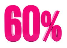 60 Percent Pink Sign. 3d Illustration Pink 60 Percent Discount Sign, Sale Up to 60, 60 Sale, Pink Percentages Special Offer, Save On 60 Icon, 60 Off Tag, Pink 60 stock illustration