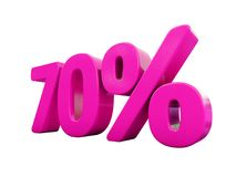 70 Percent Pink Sign. 3d Illustration Pink 70 Percent Discount Sign, Sale Up to 70, 70 Sale, Pink Percentages Special Offer, Save On 70 Icon, 70 Off Tag, Pink 70 royalty free illustration
