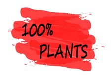 100 percent plants banner. 100 percent plants  red banner Stock Photos