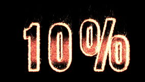10 percent plasma text from fire isolated in black stock footage