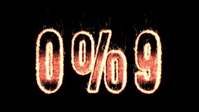 0 9 percent plasma text from fire isolated in black stock footage
