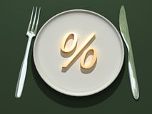 Percent on plate Royalty Free Stock Images