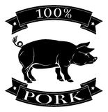 100 percent Pork label. 100 percent pork food icon of a pig in a stamp style vector illustration