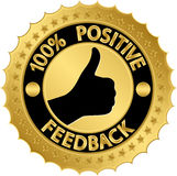 100 percent positive feedback golden label. Vector illustration Stock Photos