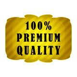 100 percent premium quality label. 100 percent premium quality seal or label on a white background Stock Image
