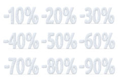 Percent price cut off christmas offer collection Royalty Free Stock Image