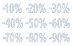 Percent price cut off christmas offer collection. Royalty Free Stock Image