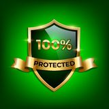 100 percent Protected design template. Vector green glass shield with golden frame and golden ribbon with Protected word. On green luxury background royalty free illustration