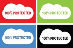 100 PERCENT PROTECTED text, on cloud bubble sign. 100 PERCENT PROTECTED text, on cloud bubble sign, in color set Royalty Free Stock Photos