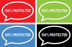100 PERCENT PROTECTED text, on ellipse speech bubble sign. 100 PERCENT PROTECTED text, on ellipse speech bubble sign, in color set Stock Photo